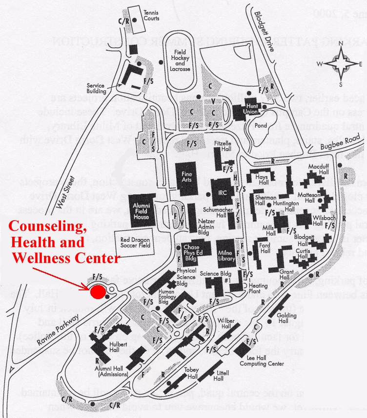 map of location of health and wellness center